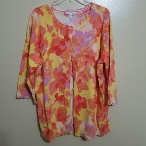 Isaac Mizrahi Floral Button Down Sweater